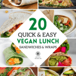 These healthy vegan sandwiches and wraps are the best vegan lunches for a quick bite on the go. 20 healthy vegan lunch sandwiches and wrap recipes to try.
