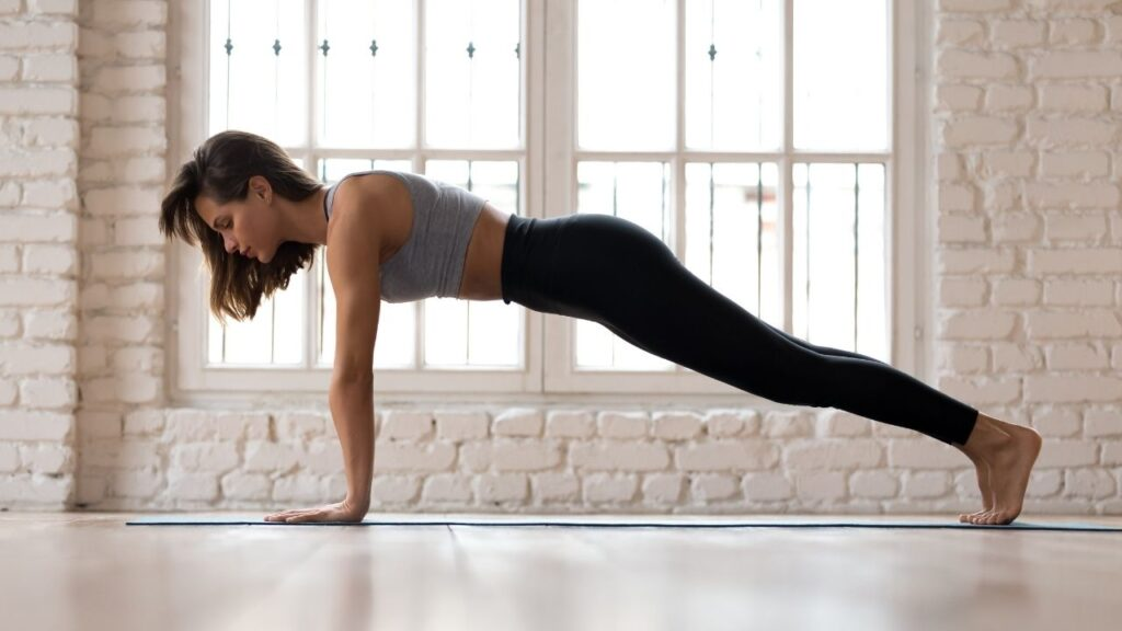Plank pose in yoga for beginners.