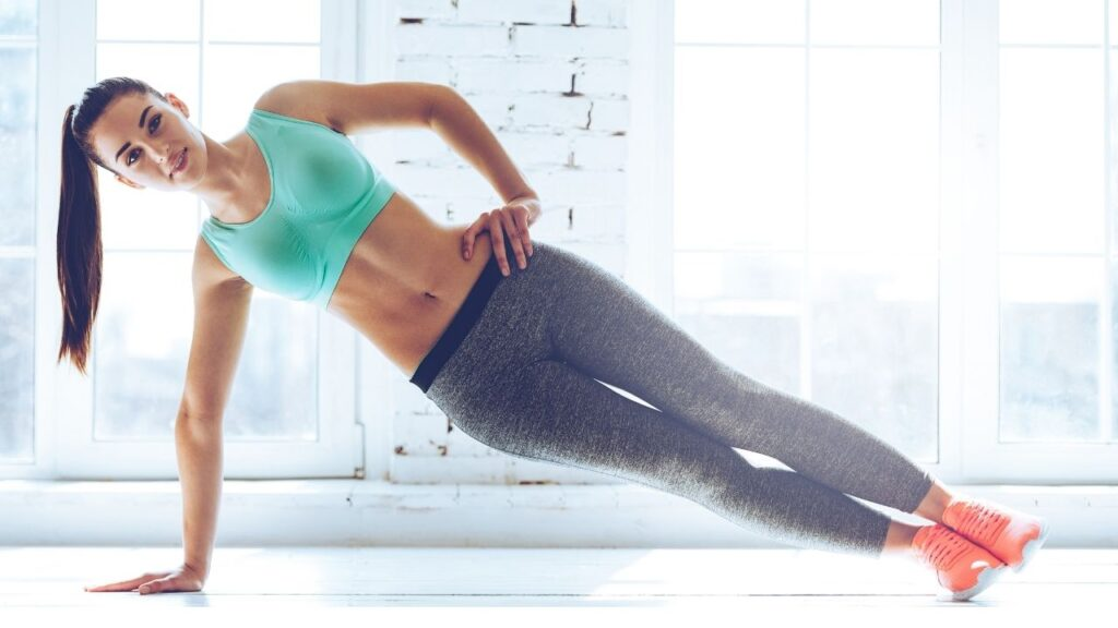 Side plannk pose for stronger abs.